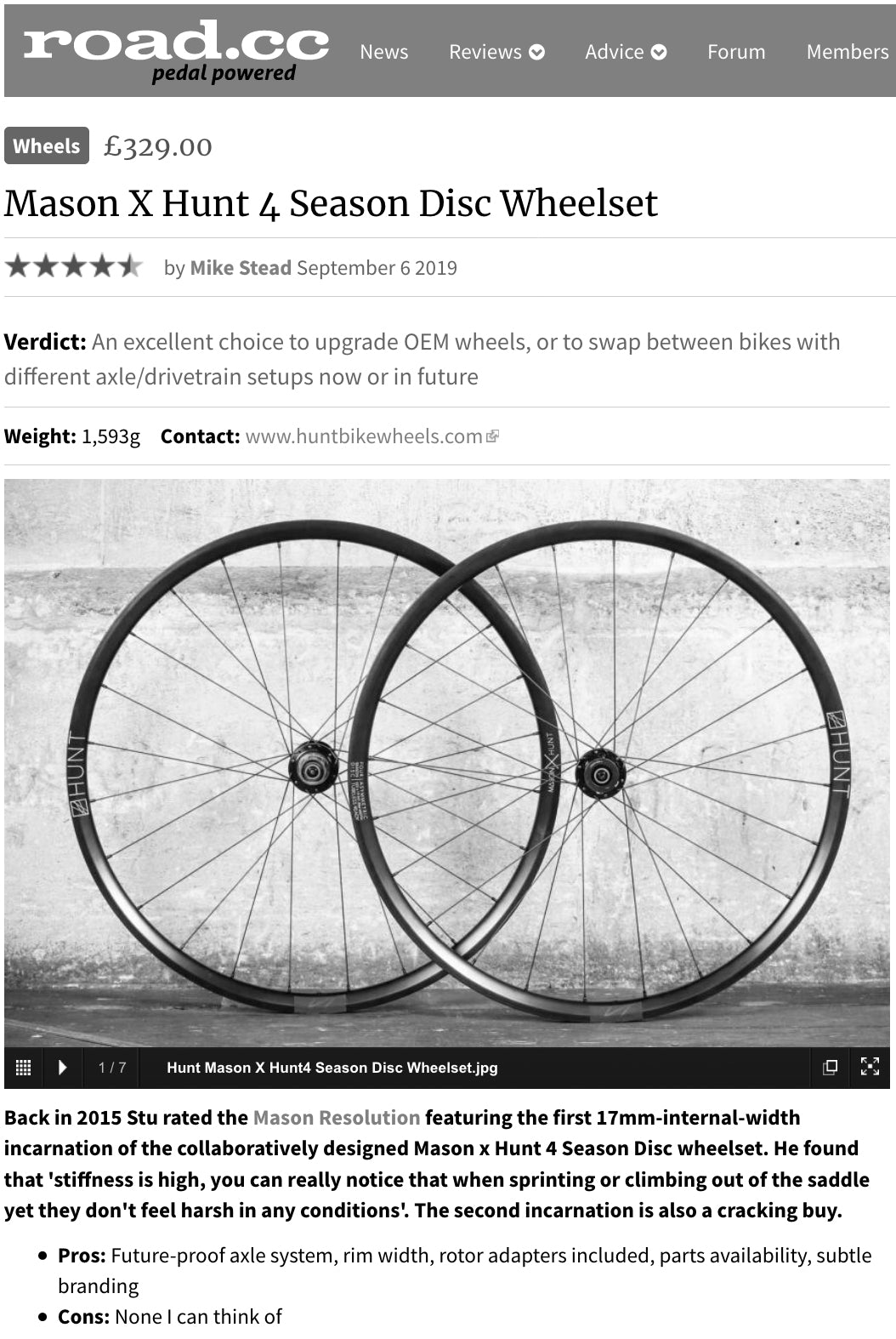 Mason x Hunt 4 Season Disc Road Wheelset Review
