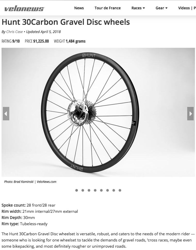 Velonews 9/10 Hunt 30 Carbon Gravel Disc Wheelset Review