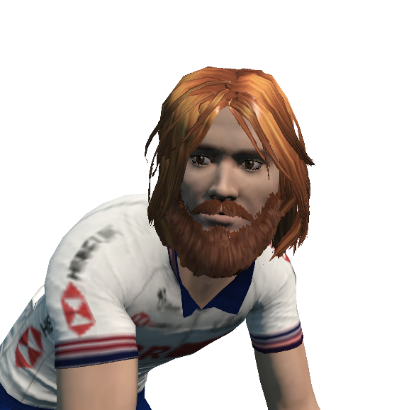 Steve's Zwift character post-ride with long hair and a beard