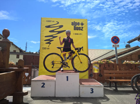 Luisa on the podium at the famed Alpe d'huez