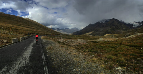 Chris climbing the famed Passo Gavia