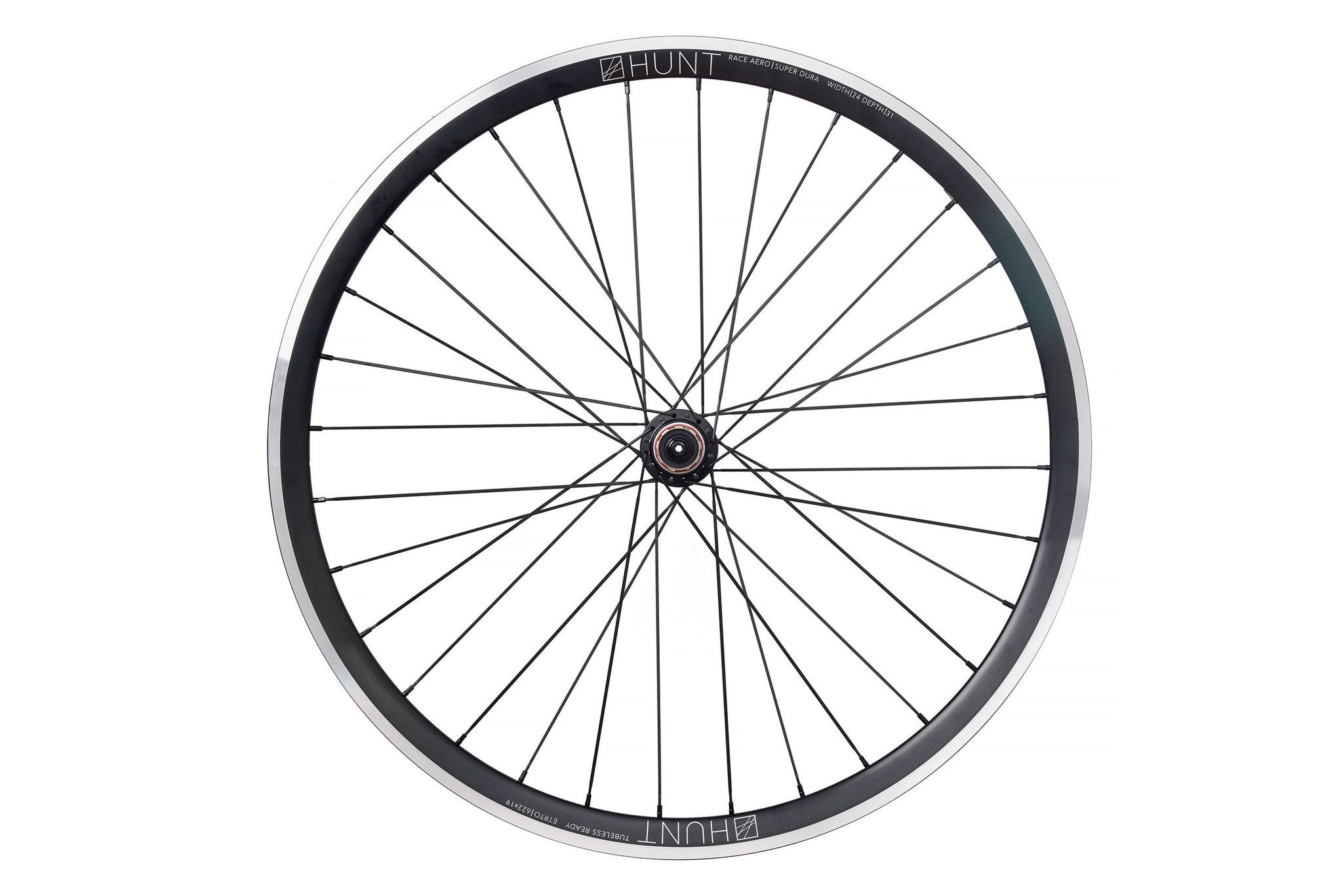 <h1>Rims</h1><i>The wheelset utilises our strongest rim material in the tried and tested profile from our Race Aero Wide wheels. We've added even more width (24mm external and 19 internal) and depth (31mm) for extra grip, comfort, low aero drag and low rolling resistance advantage. It's also important to note that widening the rim increases the air volume for any given tyre size thus creating better shock absorption which is especially useful for higher loading/more powerful riders.</i>