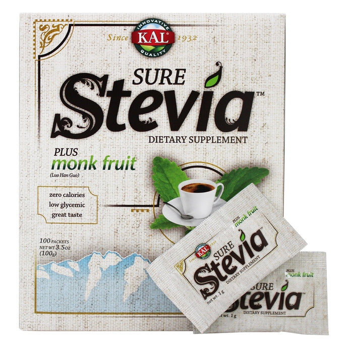 Sure Stevia Extract Plus Monk Fruit Powder - 100 Packets