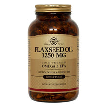 Load image into Gallery viewer, Flaxseed Oil Cold Pressed Omega3 EFA 1250mg - 100 Softgels