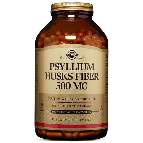 Psyllium Husks Fiber 500mg - 500 Vegetable Capsules