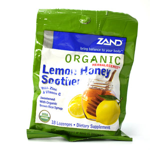 Organic HerbaLozenge Lemon Honey Soother with Zinc and Vitamin C - 18 Lozenges