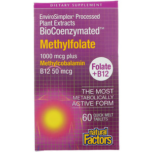 BioCoenzymated Methylfolate 1000 mcg plus Methylcobalamin B12 50 mcg - 60 Quick Melt Tablets
