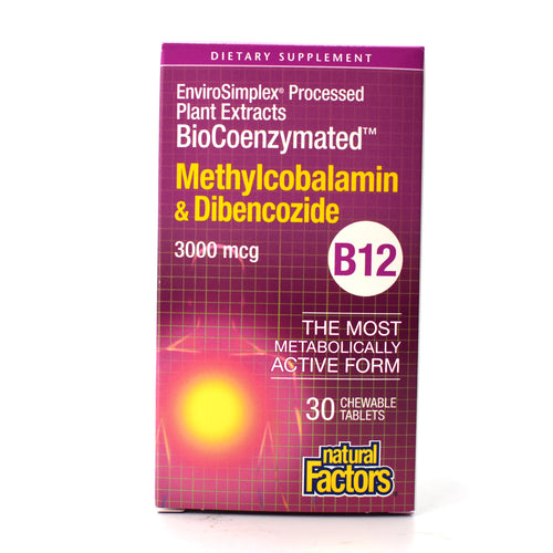 BioCoenzymated Vitamin B12 Methylcobalamin & Dibencozide 3000 mcg - 30 Chewable Tablets