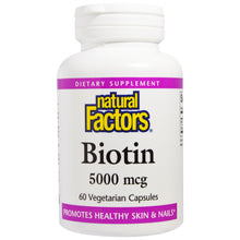 Load image into Gallery viewer, Biotin 5000 mcg - 60 Vegetarian Capsules