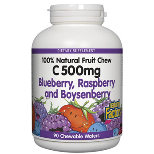 Vitamin C 100% Natural Fruit Chews Blueberry, Raspberry and Boysenberry 500 mg. - 90 Chewable Wafers