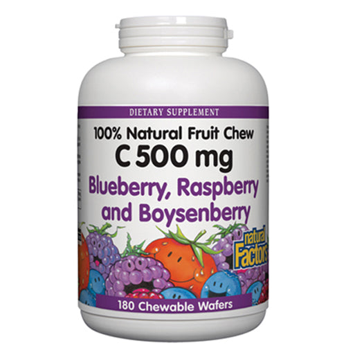100% Natural Fruit Chew C Blue/Rasp/Boynsenberry 500 mg - 180 Chewable Wafers
