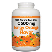 Load image into Gallery viewer, 100% Natural Fruit Chew C Tangy Orange 500 mg - 180 Chewable Wafers