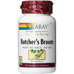 Guaranteed Potency Butcher's Broom Root Extract 100mg - 60 Vegetarian Capsules