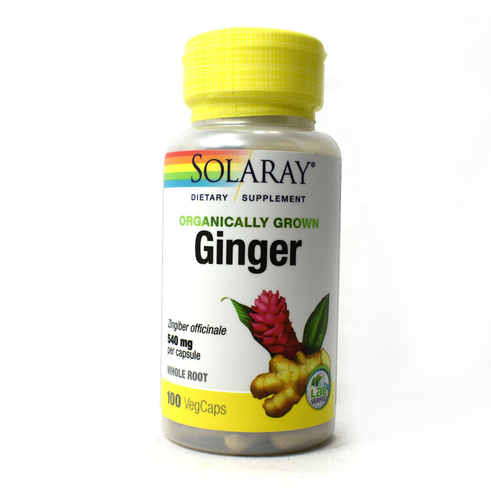 Organically Grown Ginger Root 540mg - 100 Vegetarian Capsules