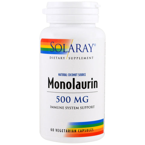 Natural Coconut Source Monolaurin 500mg Immune System Support - 60 Vegetarian Capsules