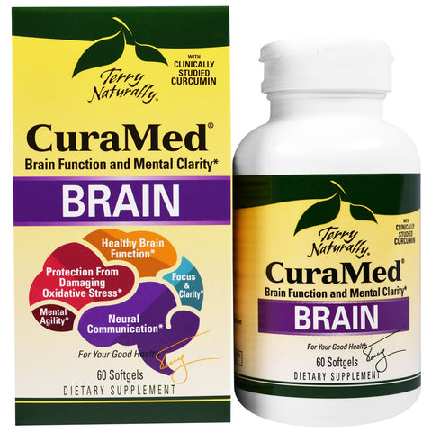 Terry Naturally Curamed Brain - Formerly Mental Advantage - Brain Function & Mental Clarity - 60 Softgels