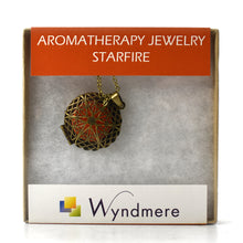 Load image into Gallery viewer, Aromatherapy Jewelry Necklace with 3 Refill Pads - Gold Toned STARFIRE Pendant and Chain