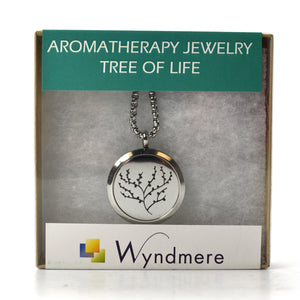 Aromatherapy Jewelry Necklace with 6 Refill Pads - Stainless Steel TREE OF LIFE Pendant and Chain
