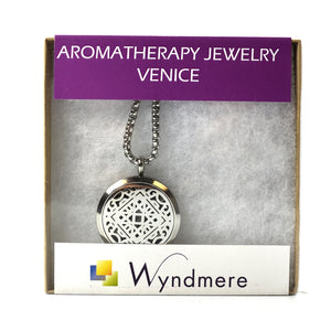 Aromatherapy Jewelry Necklace with 6 Refill Pads - Stainless Steel VENICE Pendant and Chain