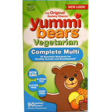 Load image into Gallery viewer, Yummi Bears Children's Vegetarian Multi-Vitamin & Minerals - 90 Sour Gummies