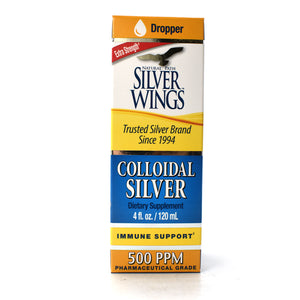 Extra Strength Silver Wings Colloidal Silver 500 PPM Pharmaceutical Grade - 4 oz Dropper