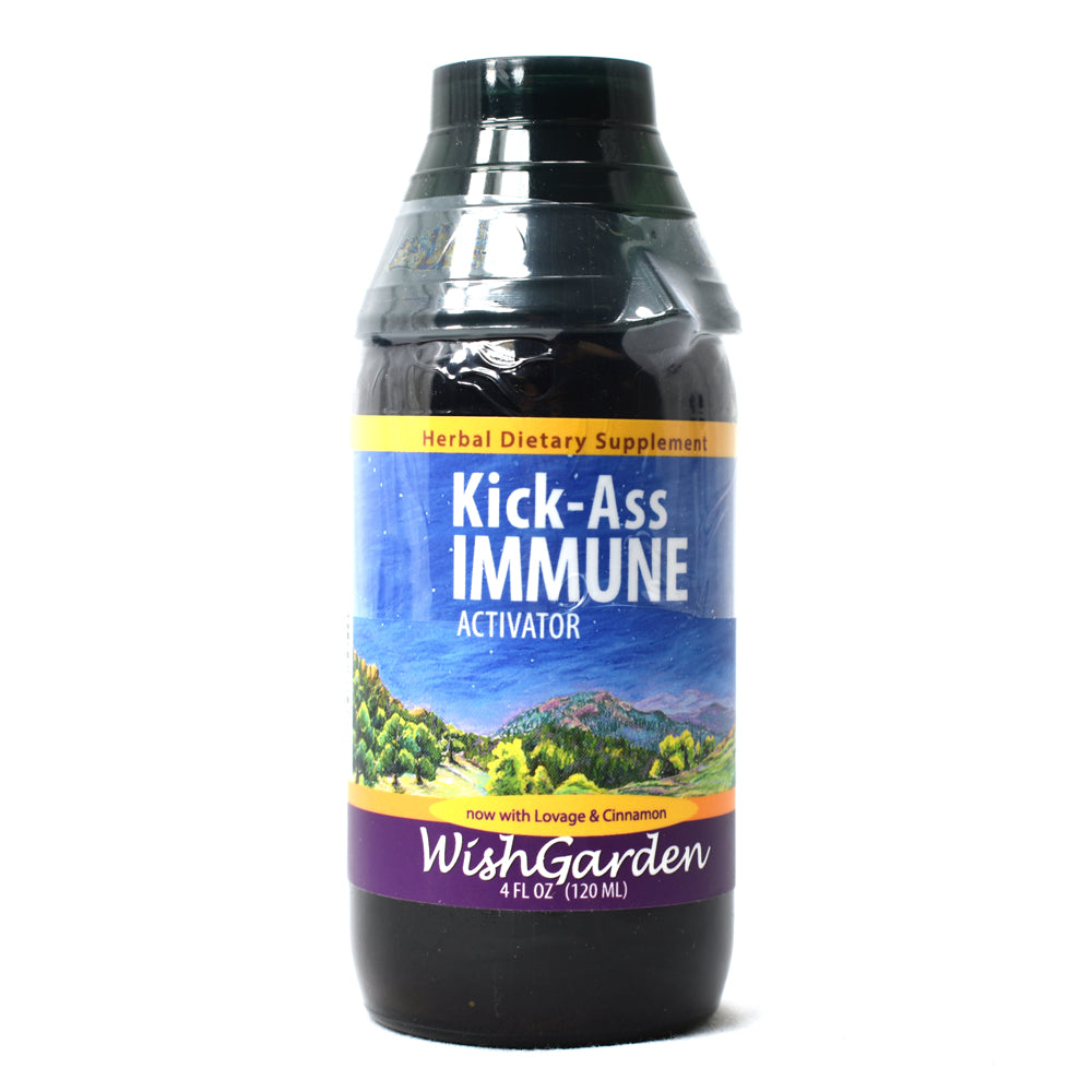 WishGarden Herbs — Kick Ass Immune Herbal Formula — Gluten Free — 4 oz Jigger Top