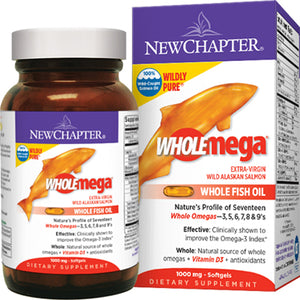 WholeMega Whole Fish Oil Made with Non-GMO Extra-Virgin Wild Alaskan Salmon Oil - 180 Softgels