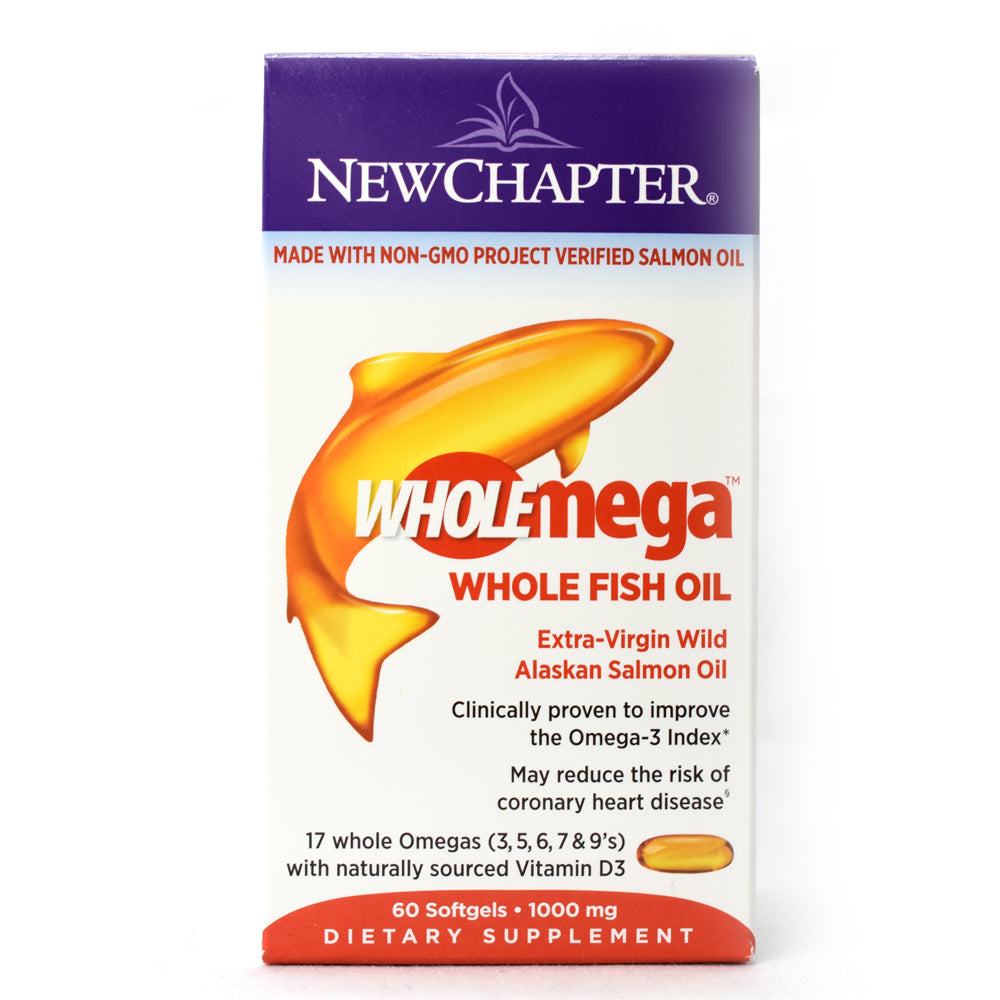 WholeMega Whole Fish Oil Made with Non-GMO Extra-Virgin Wild Alaskan Salmon Oil - 60 Softgels