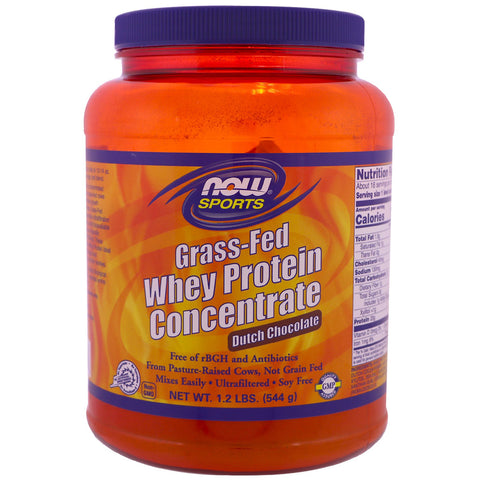NOW Sports Grass-Fed Whey Protein Concentrate Powder Dutch Chocolate Flavor - 1.2 lb