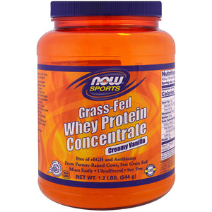 NOW Sports Grass-Fed Whey Protein Concentrate Powder Creamy Vanilla Flavor - 1.2 lb