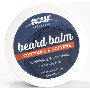 NOW Solutions Beard Balm Controls & Softens - Light Woodsy Scent - 2 oz