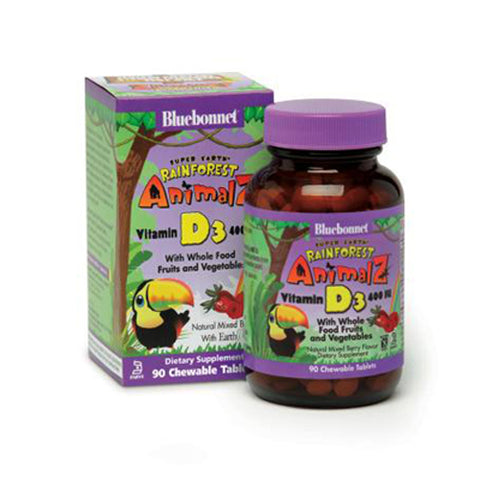Super Earth Rainforest Animalz Vitamin D3 400 IU with Whole Food (Berry Flavor) - 90 Chewable Tablets