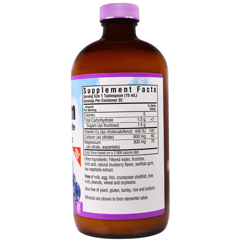 Liquid Calcium Magnesium Citrate Plus Vitamin D3 Natural Blueberry Flavor - 16 oz