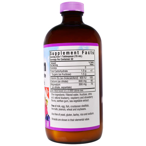 Liquid Calcium Magnesium Citrate Natural Mixed Berry Flavor - 16 oz