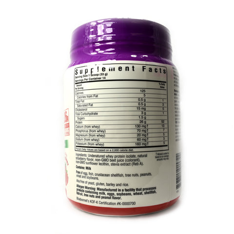 100% Natural Whey Protein Isolate Powder Natural Strawberry Flavor - 1 lb