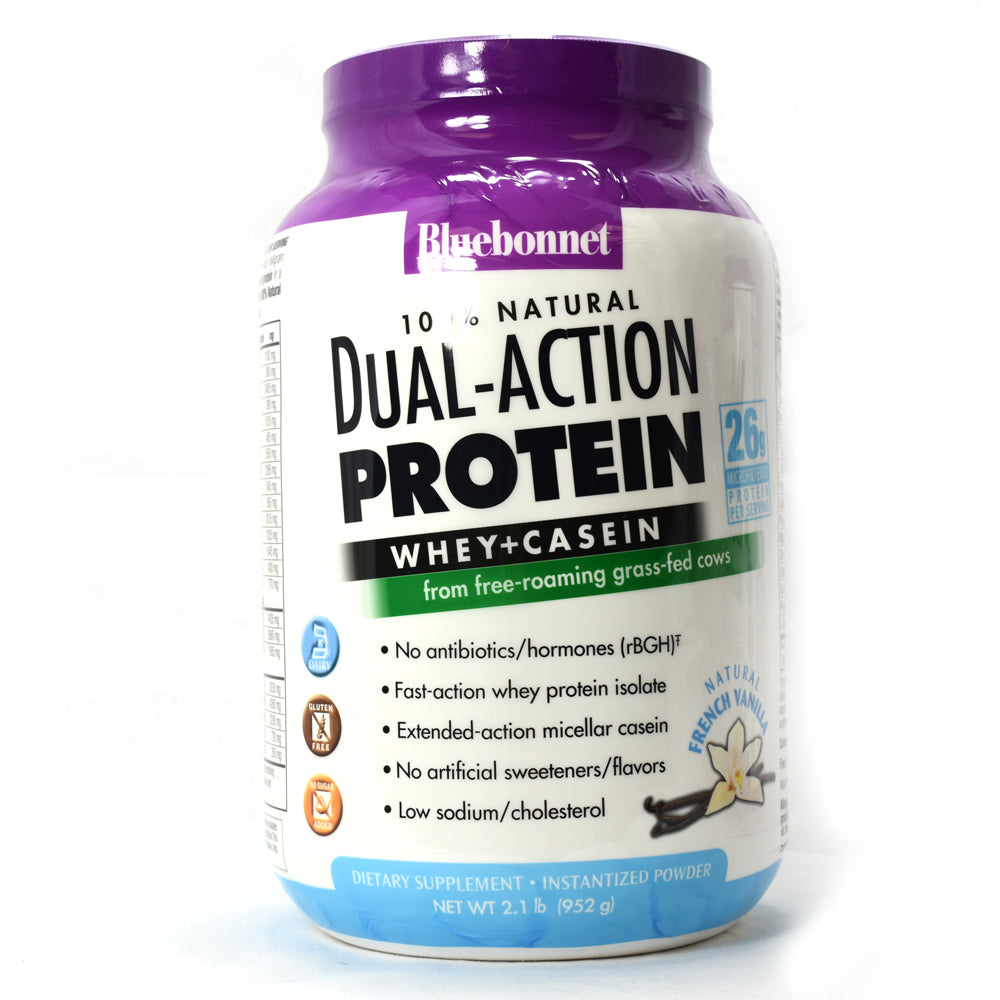 Dual-Action Protein Whey + Casein Natural French Vanilla Flavor - 2.1 lb