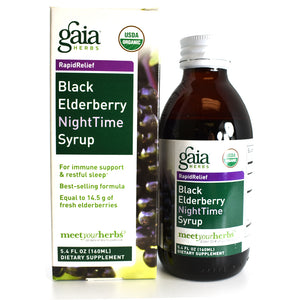 Black Elderberry Nighttime Syrup Certified USDA Organic with California Poppy and Lemon Balm - 5.4 oz