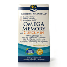Load image into Gallery viewer, Omega Memory with Curcumin 1000 mg Omega-3 + 400 mg Optimized Curcumin - 60 Softgels