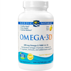 Omega-3D Purified Fish Oil with Vitamin D3 Lemon 1000 mg - 120 Softgels