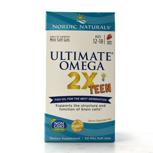 Ultimate Omega 2X Teen Natural Strawberry Flavor - 60 Mini Softgels