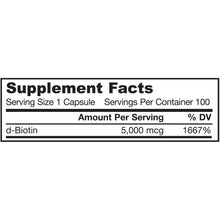 Load image into Gallery viewer, Biotin 5mg - 100 Capsules