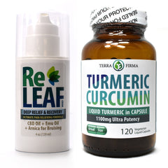 Terra Firma Pain Relief Kit: Turmeric Curcumin 1100mg - 120 Vegetarian Liquid Capsules PLUS ReLeaf Cream - 4 oz