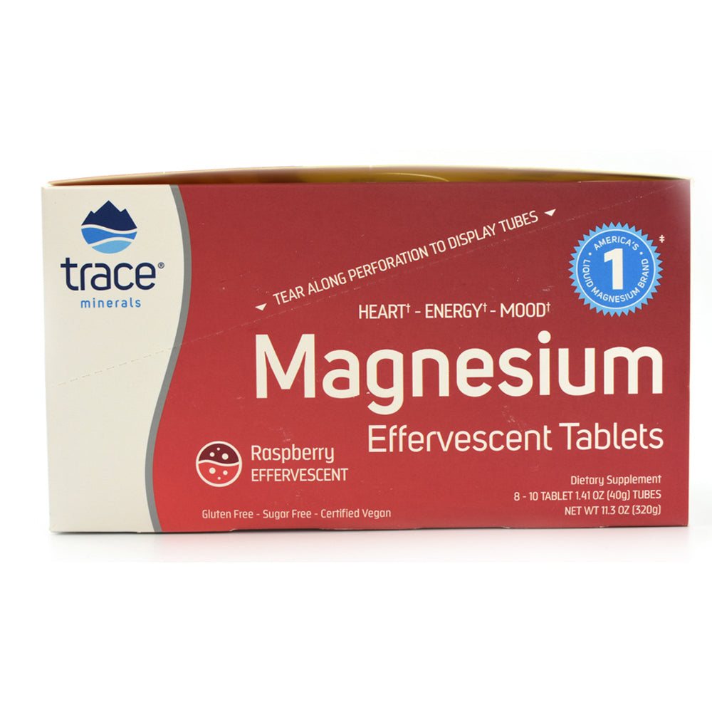 Magnesium Effervescent Tablets Raspberry Flavor - 8 Tubes of 10 Tablets Each