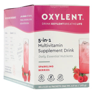 Oxylent 5-in-1 Multivitamin Supplement Drink Sparkling Berries Flavor - 30 Packets