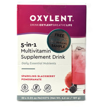 Load image into Gallery viewer, Oxylent 5-in-1 Multivitamin Supplement Drink Sparkling Blackberry Pomegranate Flavor - 30 Packets