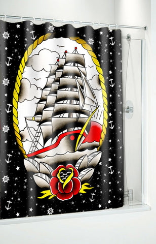 Clipper Ship Shower Curtain With Rings