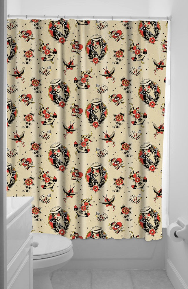 Lost Love Sailor Tattoo Shower Curtain W Rings