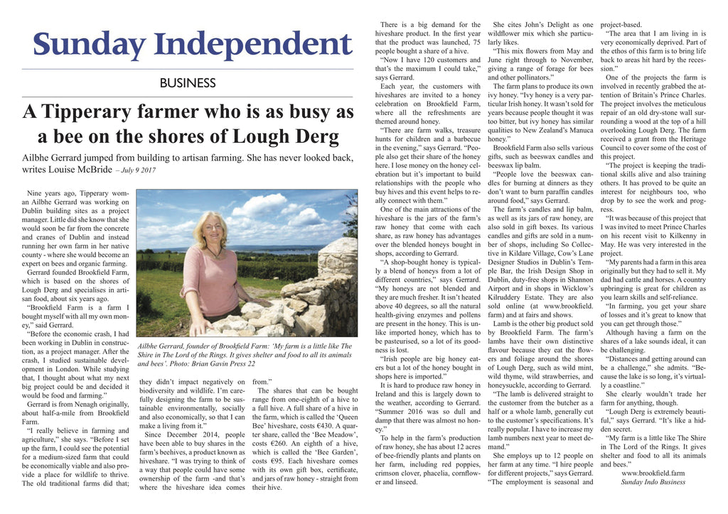 Sunday Independent - A Tipperary farmer who is as busy as a bee on the shores of Lough Derg-Brookfield Farm