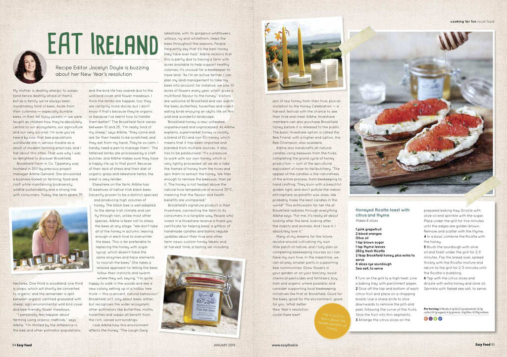 Easy Food article - Eat Ireland featuring Brookfield Farm raw honey-Brookfield Farm