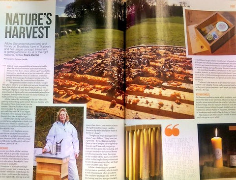 Brookfield Farm article in Irish Country Magazine on Hiveshare honey and beeswax candles